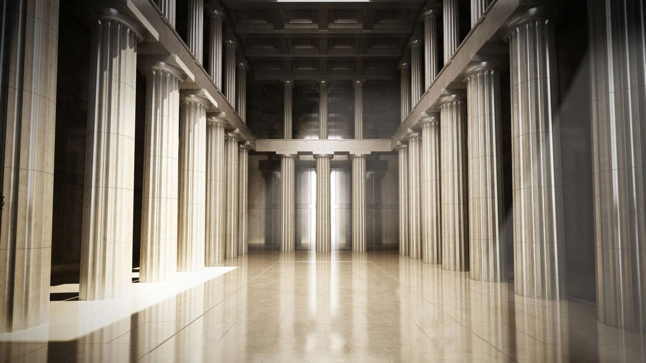 columns in a room where government contracts attorneys practice