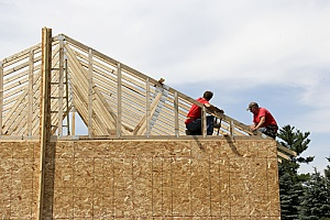 a home that is being constructed by contractors